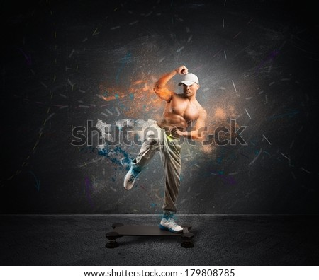 Modern fitness concept with a boy on the step with motion effect