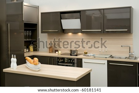 Modern fitted kitchen - stock photo