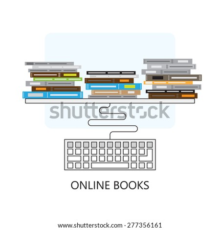 Modern flat concept design on online books and computer keyboard   Creative illustration on e-learning process featuring books and computer keyboard, top view - stock photo