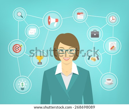 Modern flat conceptual illustration of ambitious young smiling business woman with icons of marketing, analytics, finance. New start up concept. Consulting service. Infographics design element. - stock photo