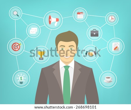 Modern flat conceptual illustration of ambitious young smiling businessman in a suit with icons of marketing, analytics, finance. New start up concept. Consulting service. Infographics design element - stock photo