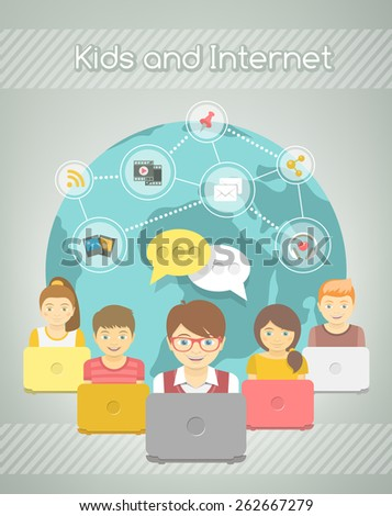 Modern flat conceptual illustration of kids with computers sharing multimedia information on Internet. Social media networking infographics. Boys and girls with media icons on a globe background - stock photo