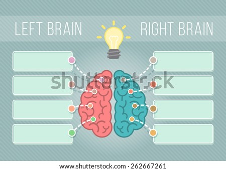 Modern flat conceptual illustration of left and right hemispheres of the brain with speech bubbles for text. Logical and creative functions of the brain. Infographics element - stock photo