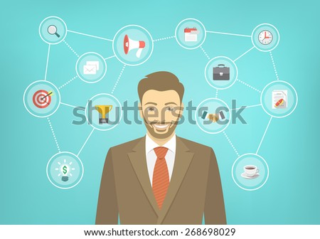 Modern flat conceptual illustration of young smiling hipster businessman in a suit with icons of marketing, analytics, finance. New start up concept. Consulting service. Infographics design element. - stock photo