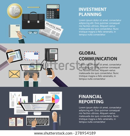 Modern flat design communication, investment and reporting concept for e-business, web sites, mobile applications, banners, corporate brochures, book covers, layouts etc. Raster illustration - stock photo