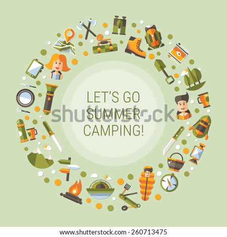 Modern flat design illustration of camping and hiking info graphic elements - stock photo
