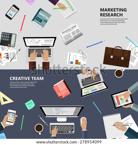 Modern flat design marketing research and creative team concept  for e-business, web sites, mobile applications, banners, corporate brochures, book covers, layouts etc. Raster illustration - stock photo
