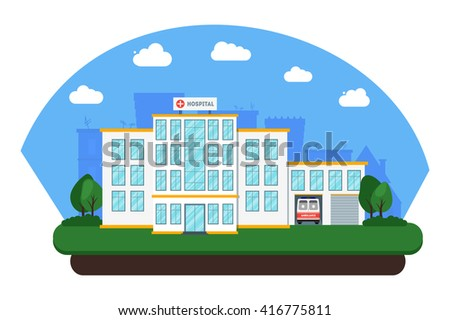 Modern flat hospital building on city background. Medical healthcare concept with ambulance car. Emergency service. Cityscape. Poster, card, banner template design with place for text. Raster copy - stock photo