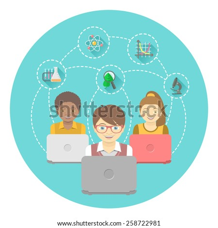 Modern flat illustration of group of kids with laptops and educational icons in a circle. International online education concept. Conceptual banner or emblem - stock photo