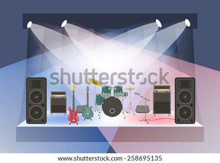 Modern flat illustration of rock concert stage with musical instruments and sound equipment. Rock concert organization conceptual background. Rock festival or club party poster with space for text - stock photo