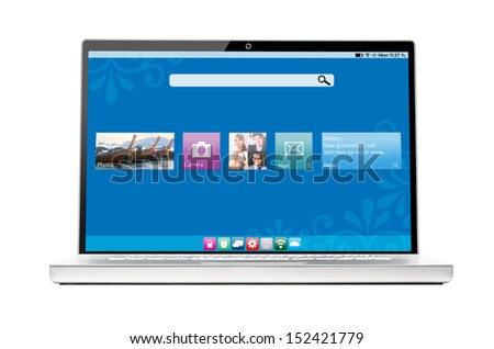 modern flat interface on laptop isolated on white background