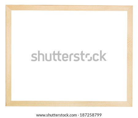 modern flat narrow light wooden picture frame with cut out canvas isolated on white background - stock photo