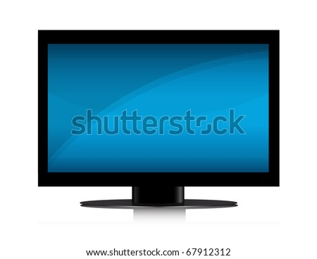 Modern Flat screen isolated over a white background. - stock photo
