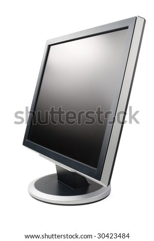 Modern flat screen LCD monitor on a white background. - stock photo
