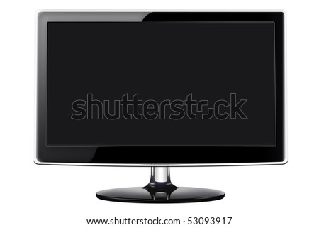 Modern flat screen television in a sleek glossy black style, isolated on a white background with clipping path. - stock photo
