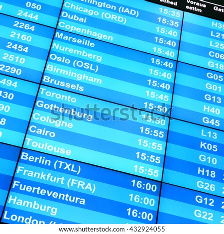 Modern flight information board in an airport close-up