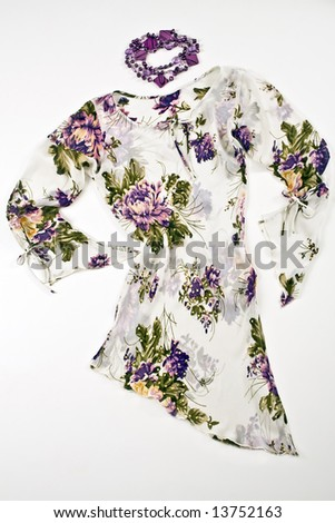 Modern flowery dress - stock photo
