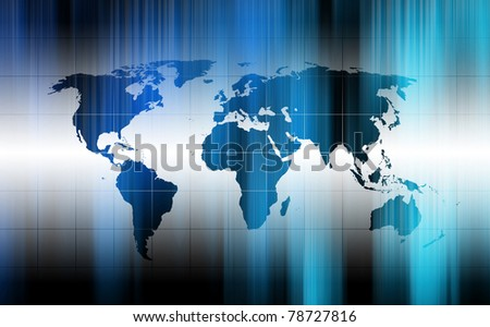 modern fluorescent background with world map - stock photo
