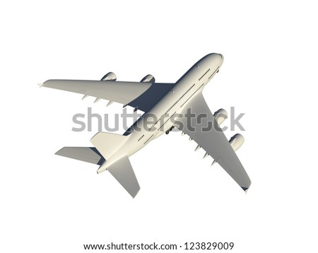 Modern flying airplane for passengers, isolated on white background. - stock photo