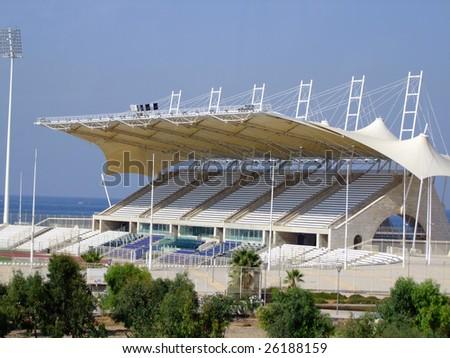 Modern Football Stadium, Saida Lebanon - stock photo