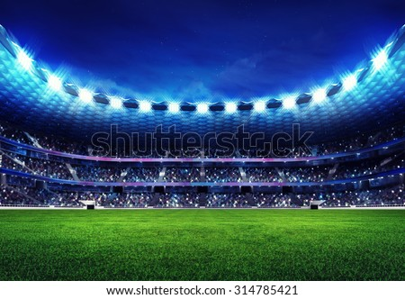 modern football stadium with fans in the stands sport illustration background - stock photo