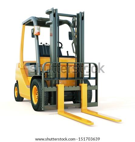 Modern forklift truck on light background - stock photo