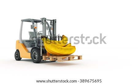 Modern forklift truck with banana