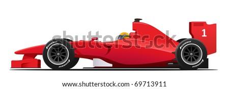 Modern Formula 1 red racing car detailed - stock photo