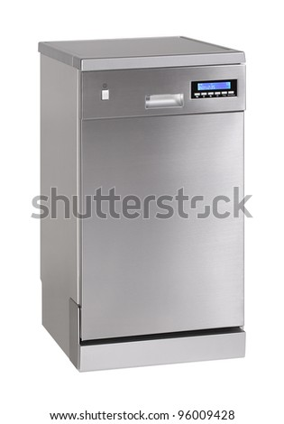 Modern freestanding dishwasher isolated on white - stock photo