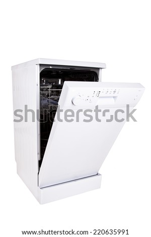 Modern freestanding dishwasher isolated on white with clipping path. - stock photo