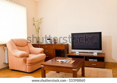 Modern furnished luxury living room - stock photo