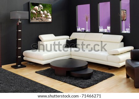 modern furniture and lamp - stock photo