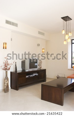 Modern furniture set in living room in cottage - stock photo