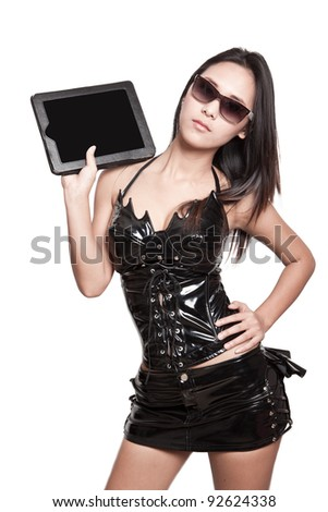 Modern future woman with modern touch pad pc - stock photo
