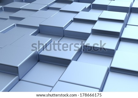 Modern futuristic cubes construction, abstract technology decorative style background - stock photo