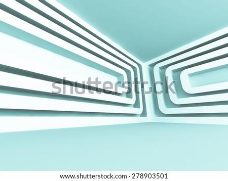 Modern Futuristic Design Empty Interior Architecture Background. 3d Render Illustration - stock photo