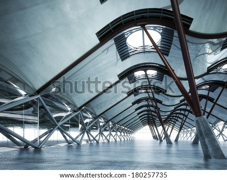 Modern futuristic empty abstract interior - stock photo