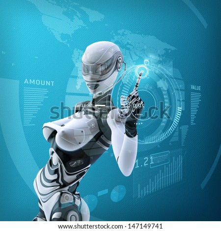 Modern futuristic female android managing virtual interface in digital space - stock photo