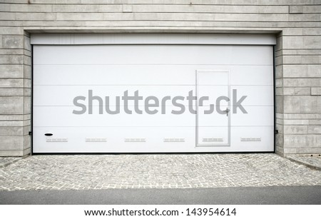 Modern Garage Door Large Automatic Over Stock Photo 143954614