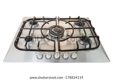 Modern gas kitchen stove. Without fire. - stock photo