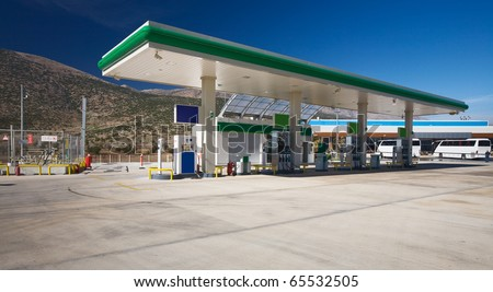 Modern gas station in the Taurus Mountains, Turkey, polarizing filter applied - stock photo