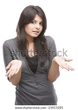 Modern  girl in a surprised expression - stock photo