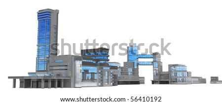 Modern glass and steel building 3d business center, isolated - stock photo