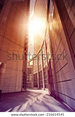 modern glass and steel office complex in the sun, Frankfurt am Main, Germany - stock photo