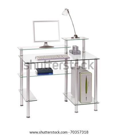 Modern glass computer desk - stock photo