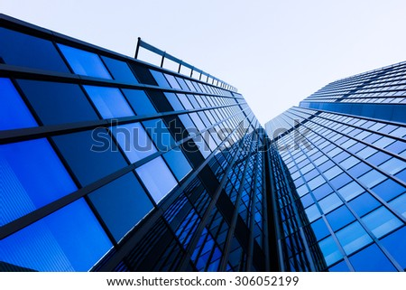 Modern glass silhouettes of skyscrapers. office buildings