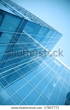 modern glass skyscraper perspective view - stock photo