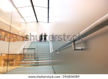 Modern glass staircase - stock photo