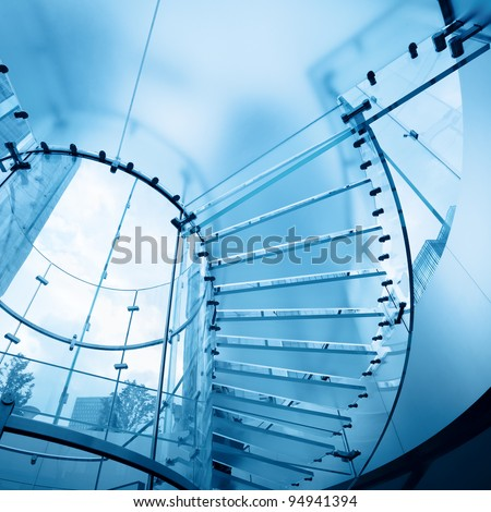modern glass staircase in business center - stock photo