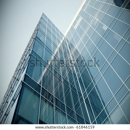 modern glass texture of mansion perspective view - stock photo